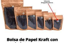 Bolsa de Papel Kraft con un lado transparente y un lado con color / Bolsa de Papel Kraft con un lado transparente y un lado con color