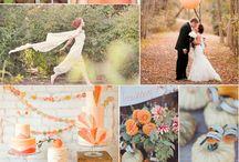 Rustic Autumn Wedding - Peach and green wedding mood board