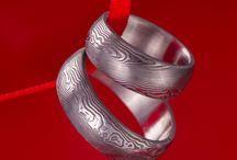 Damasteel jewelry by KREDUM / Prsten Kulatý čtvereček z oceli damasteel
