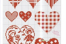 cross stitch. hearts
