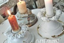 CANDLE HOLDERS DIY / Recycle Bric a Brac, Mason Jar, Wine Glasses, Candle sticks, Candelabras, Tin Cans, Tea Cups & Saucers to make your own unique Shabby Chic, Victorian, Modern, Vintage- Eye Catching- Centre Pieces for your Pillar Candles.. Votive Candles.. Tea Light Candles and scented glass candles. Using decorative accents such as lace, pearls, beads and burlap. Techniques with paint and distressing and crackling, decoupage and how to make your own flowers and transfer images.