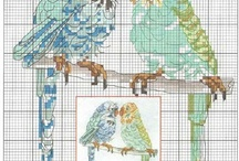 Cross stitch - parakeets