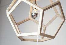 Hexagon oak light fitting