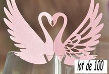 marque place cygne rose mariage,porte noms rose,etiquette rose,cygne