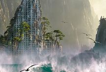 """photo montage : série """"Urbanisation du Paysage..."""" / Notre planète avec ses habitants sont en pleine mutation : Les villes agrandissent leurs territoires, béton et nature s'interpénètrent de plus en plus. L'espace urbain est le dépositaire des rêves de l'Homme, de l'accomplissement de ses projets,  de son envie d'y vivre au détriment de la campagne qui ne cesse d'être déserté. A l'horizon 2050, pas moins de 70 % de la population sera citadine... Qu'en est-il de la place de l'espace naturel ?"""
