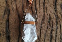 Gypsy Head Jewellery / One-of-a-kind, raw crystal jewellery (pendants and rings) set in 925 silver and copper