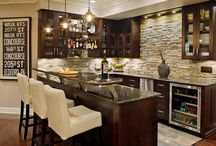 Home | Basement Bars / Basement bars, hang out space, rec space, and man cave inspiration.  Wet bar, dry bar, bars with mini fridge, tile bar backsplash, alcohol organization, drink station
