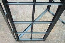 Iron door window