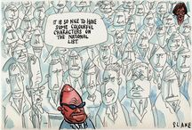 Political cartoons by Slane / NZListener magazine and others