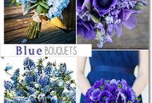blå brudbukett