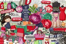 Shopping scrapbooking supplies / Digital scrapbooking supplies with a shopping theme