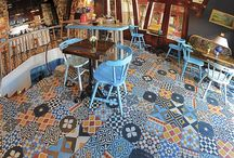 Patchwork tiles by Marrakesh Cement Tile / Cement tiles mixed randomly and used as patchwork.