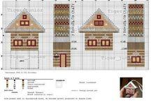 Схемы вышивки крестиком:  домики