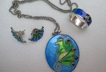My works / This is my jewelry,everything handcrafted.Silver,natural gemstones and vitreous enamel.