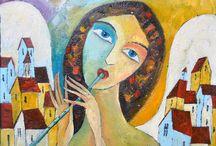 Angels - painting by Miroslaw Hajnos
