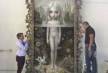 Mark Ryden's Aurora / A great masterpiece Aurora is more than 3 metres tall in her  hand carved frame. Mark Ryden is one of the the GREAT painters of all time, his meticulous and painstaking patience means a painting may take over a year to complete.  Mark reminds me that there are no short cuts to a masterpiece. It is the result of time and effort. When I look at this painting it is clear to me that every other painting Mark has painted led to this one and it was a pathway to perfection. (More of this on my Blog)