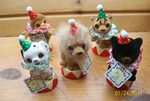 Josef Original Circus and Party Animals / Vintage 1980's flocked circus and party creatures!
