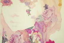 Mixed media collage Artwork / Art illustrations bohemian handmade