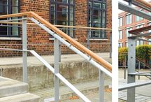 Hand Rails - The Hub, Farnborough | Our Work / Working in and around Listed buildings presents special challenges, since the design, materials and finish are closely prescribed to fit with the site's essential character. Creating these handrails for a 1930s Art Deco building in Farnborough was made even more complex by the inclusion of wooden elements, made by a third party.