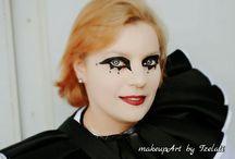 ARTISTIC MAKEUP by Tzelati / Καλλιτεχνικό μακιγιάζ για το group51, που συμμετέχει στο καρναβάλι της Πάτρας με ιδιαίτερο, μαυρόασπρο κουστούμι, ιταλικού υφάσματος.  Για το μακιγιάζ χρησιμοποιήσαμε makeup σε ιβουάρ τόνους και πορσελάνινη πούδρα, ώστε να πετύχουμε ένα αποτέλεσμα μάσκας. Τα μάτια βάφτηκαν με έντονο μαύρο και τα χείλη με σκούρο, μπορντό κραγιόν.