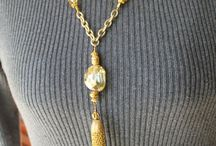 crystal necklace with chain tassle
