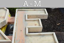 letras en ,madera