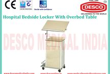 Bedside Locker with Overbed Table Manufacturers India / We have wide range of bedside lockers with overbed table constructed by stainless steel with bottle holder at bottom. For more details go through the website.