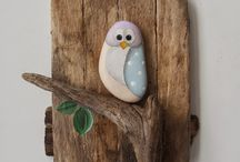 Wood, sea glass , metal and stone craft