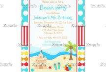 Beach Party Blue and Yellow Birthday / This collection features a summer beach scene. There is a sandcastle, flip flop sandals, a beach ball, palm tree and starfish. You can see waves in the background. The background consists of bright blue polka dots, red stripes and colourful waves of blue, yellow, red and orange.