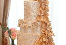 Peach Peacock Wedding Cake