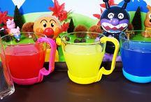 水遊び!色遊び!❤アンパンマンおもちゃアニメ