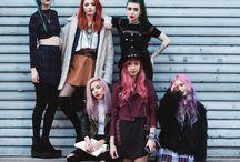 Girl gang punk hair colours