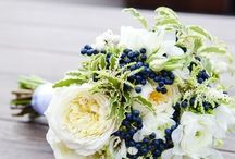 White wedding with blueberries and raspberries