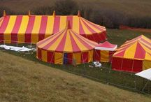 'Rhubarb and Custard' Circus tents / Our red and yellow party tent range. Perfect for a festival/circus/carnival themed party or wedding. Bold and colourful these tents stand out at any event.