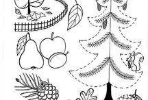 omalovanky stromy, plody lesa