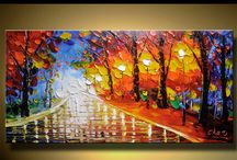 Abstract palette knife paint