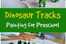 Explore Dinosaurs / Dinosaur arts and crafts. Lesson ideas for classroom and homeschool teachers. Science and sensorial activities.
