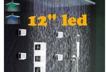 "Bathroom Thermostatic Shower Panel Valve Faucets 12"" Shower Head Body Massage Spray Jets"