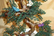 Gyöngyfák /Bead tree / / #Gyöngyből és drótból készült #fák. #Virágos #bonsai