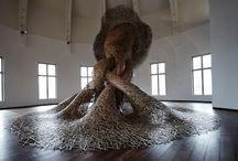 sculpture branches de jonc