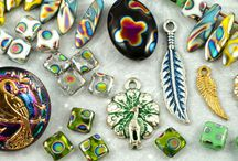 Peacock Czech Glass Beads, Buttons and Charms / Peacock Czech Glass Beads, Buttons and Charms