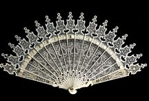 """Regency Fans / Primarily brisé fans (pierced sticks with no applied fan leaf), but a few folding fans as well, all c1790 to c1825. Note that fans were much smaller during this period than earlier Georgian and later Victorian fans, with most measuring only 6"""" or 7"""" when closed."""