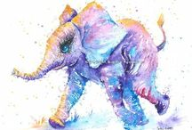 Elephant Art / Elephant painting watercolour and pen By Sophie Appleton. Art for sale £13.95 each, post worldwide . On the 'Art 4 SALE' page of www.sixfootsophie.co.uk