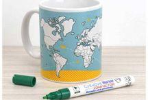 Caneca do Viajante / Canecas com caneta especial para porcelana para marcar viagens!