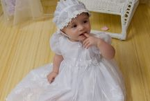 Organza Christening Gown for Girls / Adorable christening gown for girls has organza overlay with large flowers. Matching bonnet included. Made in the USA http://www.christening-gowns.net/pd-christening-gowns-samantha.cfm