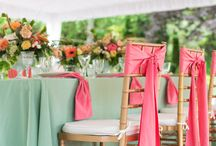 Mint green and coral wedding
