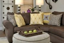 Family Room with brown leather sofa