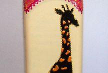 garrafas decoradas com animais