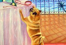 Pug Dog Art / My Art of the Pug Dog, Lyn Hamer Cook, artist.