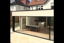 Project: East Finchley / On the ground floor IQ Glass placed sliding aluminium framed doors in order to completely open up the space on to the patio and garden. Roof lights in the family dining room were also incorporated along with a solarlux casement door.